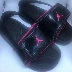 5539faeb604d3 Jordan Shoes - Jordan Hydro 2 Girls Black and Pink Sandals 10C